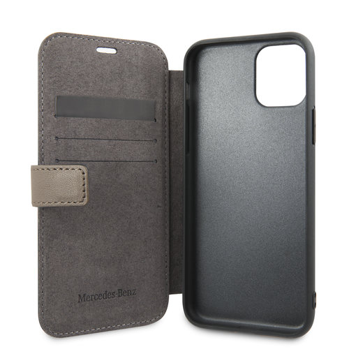 Mercedes-Benz Apple iPhone 11 Pro Mercedes-Benz Book type case Quilted Perf Brown for iPhone 11 Pro Genuine Leather