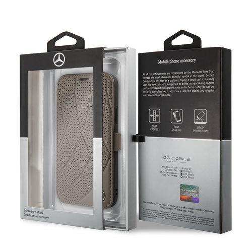 Mercedes-Benz Apple iPhone 11 Pro Bruin Mercedes-Benz Booktype hoesje Quilted Perf - Genuine Leather - MEFLBKN58DIQBR