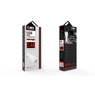 Car Charger Micro USB 2.4A - White