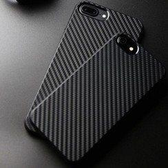 Luxury Carbon Fiber  TPU Silicone Slim Line Back Case Shock Absorbing Bumper Protective Case Cover for Apple iPhone  7-8 Plus  Zwart