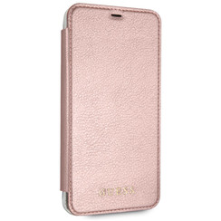 GUESS BOOK CASE ROZE GOUD - GUESS CLASSIC COLLECTION - TPU - IPHONE XS MAX - ACHTERKANT TRANSPARANT