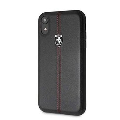 Ferrari Leren Backcover iPhone XR - Zwart