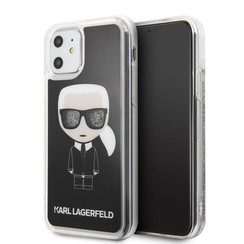Apple iPhone 11 Karl Lagerfeld Zwart Backcover hoesje KLHCN61ICGBK - Ikonik - Kunstleer