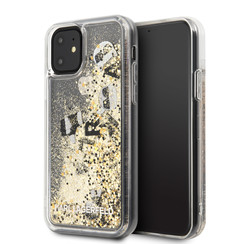 Apple iPhone 11 Karl Lagerfeld Zwart Backcover hoesje KLHCN61ROGO - Glitter - Kunstleer