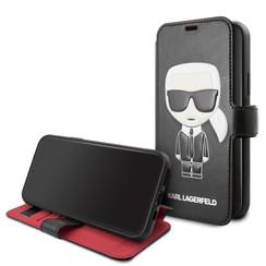 Apple iPhone 11 Karl Lagerfeld Book-Case hul Schwarz KLFLBKSN61FIKPUBK -Ikonik - Kunstleer