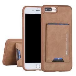 UNIQ Accessory Apple iPhone 7-8 Plus Bruin Backcover hoesje Pasjeshouder