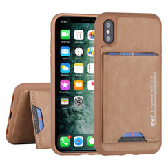 Apple iPhone X-Xs Back cover case Card holder Brown for iPhone X-Xs 2 Viewing Positions