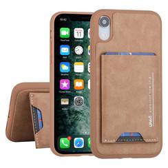 Apple iPhone XR UNIQ Accessory Bruin Backcover hoesje Pasjeshouder - 2 Kijkstanden - Kunstleer