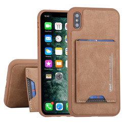Apple iPhone Xs Max Back cover case Card holder Brown for iPhone Xs Max 2 Viewing Positions