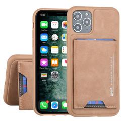 Apple iPhone 11 Pro UNIQ Accessory Bruin Backcover hoesje Pasjeshouder - 2 Kijkstanden - Kunstleer