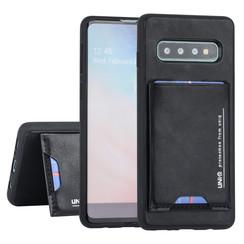 Samsung Galaxy S10 Plus UNIQ Accessory Zwart Backcover hoesje Pasjeshouder - 2 Kijkstanden - Kunstleer