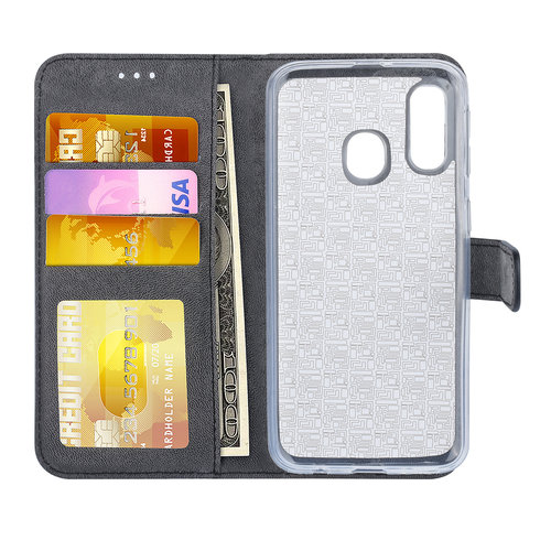 Andere merken Samsung Galaxy A40 Book-Case hul Schwarz Kartenhalter - Kunstleer