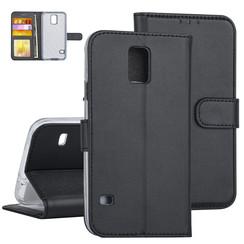 Samsung Galaxy S5 Book-Case hul Schwarz Kartenhalter - Kunstleer