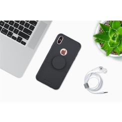 Apple iPhone Xs Max Zwart Backcover hoesje Soft Touch