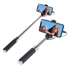 Earldom Noir Selfie Stick avec jack 3,5 - 100 cm extensible