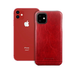 Pierre Cardin Apple iPhone 11 Rood Backcover hoesje Genuine leather