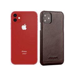 Pierre Cardin Apple iPhone 11 Donker Bruin Backcover hoesje Genuine leather