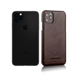 Apple iPhone 11 Pro Max Pierre Cardin Back-Cover hul Dunkelbraun Genuine Leather - Echt Leer