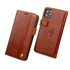 Apple iPhone 11 Pro Pierre Cardin Book-Case hul Braun Genuine Leather - Echt Leer