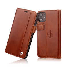 Apple iPhone 11 Book type case Pierre Cardin Genuine Leather Brown for iPhone 11