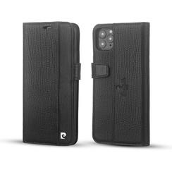 Pierre Cardin Apple iPhone 11 Pro Max Zwart Booktype hoesje Genuine leather