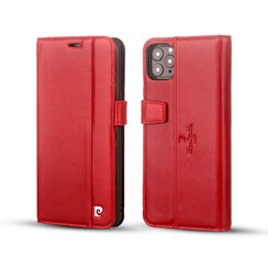 Pierre Cardin Apple iPhone 11 Pro Max Red Book type case - Genuine Leather