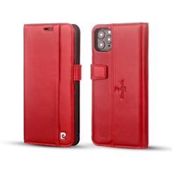 Pierre Cardin Apple iPhone 11 Pro Max Rood Booktype hoesje Genuine leather