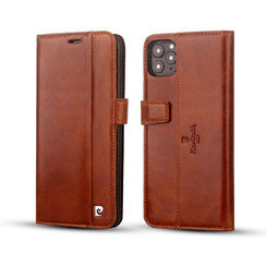 Apple iPhone 11 Pro Max Pierre Cardin Book-Case hul Braun Genuine Leather - Echt Leer