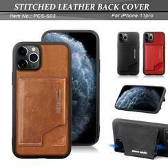 Apple iPhone 11 Pro Donker Bruin Pierre Cardin Backcover hoesje Genuine leather - Echt Leer