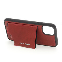Apple iPhone 11 Rood Pierre Cardin Backcover hoesje Genuine leather - Echt Leer