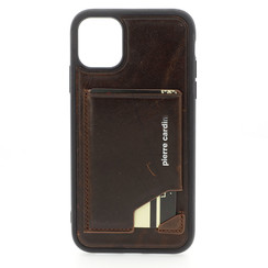 Apple iPhone 11 Pierre Cardin Back-Cover hul Dunkelbraun Genuine Leather - Echt Leer