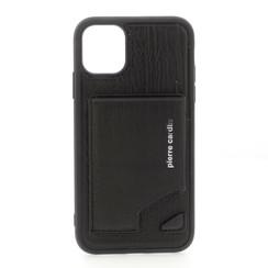 Apple iPhone 11 Pro Max Zwart Pierre Cardin Backcover hoesje Genuine leather - Echt Leer