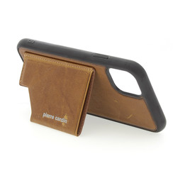 Apple iPhone 11 Pro Max Pierre Cardin Back-Cover hul Braun Genuine Leather - Echt Leer