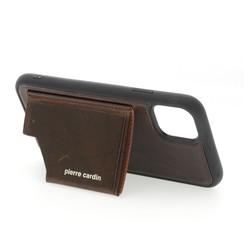 Apple iPhone 11 Pro Max Donker Bruin Pierre Cardin Backcover hoesje Genuine leather - Echt Leer
