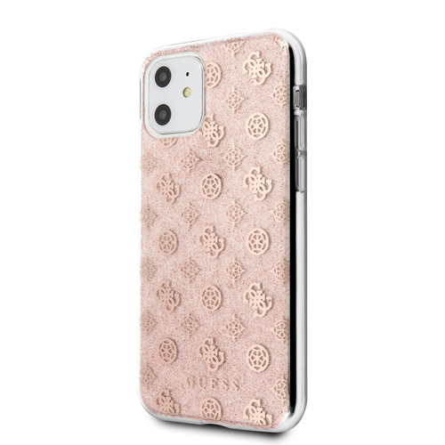 Guess Apple iPhone 11 Guess Back-Cover hul Pink GUHCN61TPERG - Echt leer