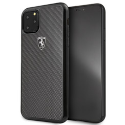 Apple iPhone 11 Pro Max Zwart Ferrari Backcover hoesje FEHCAHCN65BK - Carbon Fiber  - FEHCAHCN65BK