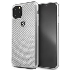 Apple iPhone 11 Pro Max Zilver Ferrari Backcover hoesje FEHCAHCN65SI - Carbon Fiber  - FEHCAHCN65SI