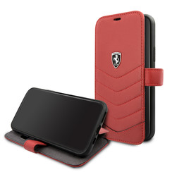 Apple iPhone 11 Pro Rood Ferrari Booktype hoesje FEHQUFLBKSN58RE - Echt leer - FEHQUFLBKSN58RE