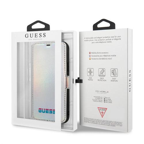 Guess Apple iPhone 11 Guess Book-Case hul Silber GUFLBKN61BLD - Echt leer