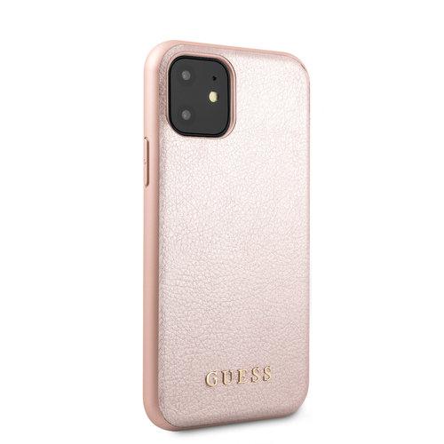 Guess Apple iPhone 11 Guess Back-Cover hul Rose Gold GUHCN61IGLRG - Echt leer
