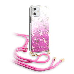 Apple iPhone 11 Roze Guess Backcover hoesje GUHCN61WO4GPI - Electroplated - GUHCN61WO4GPI