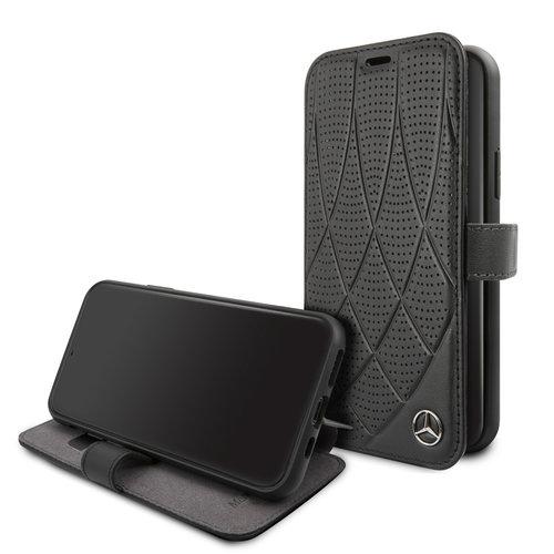 Mercedes-Benz Apple iPhone 11 Mercedes-Benz Book-Case hul Schwarz MEFLBKN61DIQBK - Echt leer