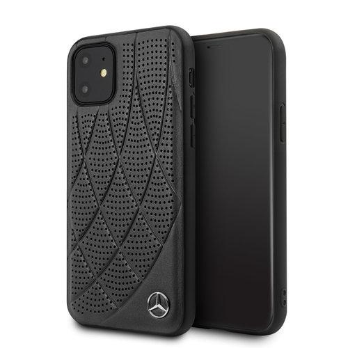 Mercedes-Benz Apple iPhone 11 Mercedes-Benz Back-Cover hul Schwarz MEHCN61DIQBK - Echt leer