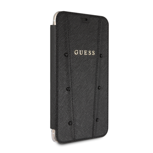 Guess Apple iPhone 7-8 Plus Guess Book-Case hul Schwarz GUFLBKI8LKASABK - Echt leer