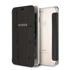 Apple iPhone 7-8 Plus Zwart Guess Booktype hoesje GUFLBKI8LKASABK - Echt leer - GUFLBKI8LKASABK