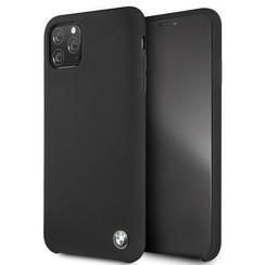 Apple iPhone 11 Pro Max Zwart BMW Backcover hoesje BMHCN65SILBK - Echt leer - BMHCN65SILBK