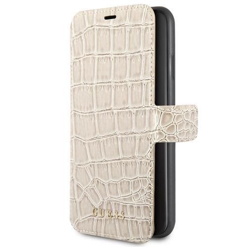 Guess Apple iPhone Xs Max Guess Book-Case hul Beige GUFLBKSI65CSCROBE - Echt leer