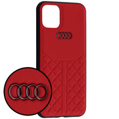 Audi Apple iPhone 11 Rood Backcover hoesje Q8 Serie - Genuine Leather