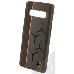 Lamborghini backcover hoesje Alcantara Samsung Galaxy S10+ Oranje - Genuine Leather - Echt leer