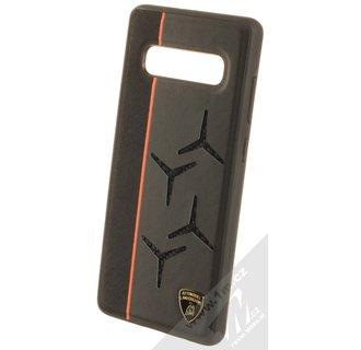 Lamborghini back cover case Samsung Galaxy S10 Alcantara Orange - Genuine Leather
